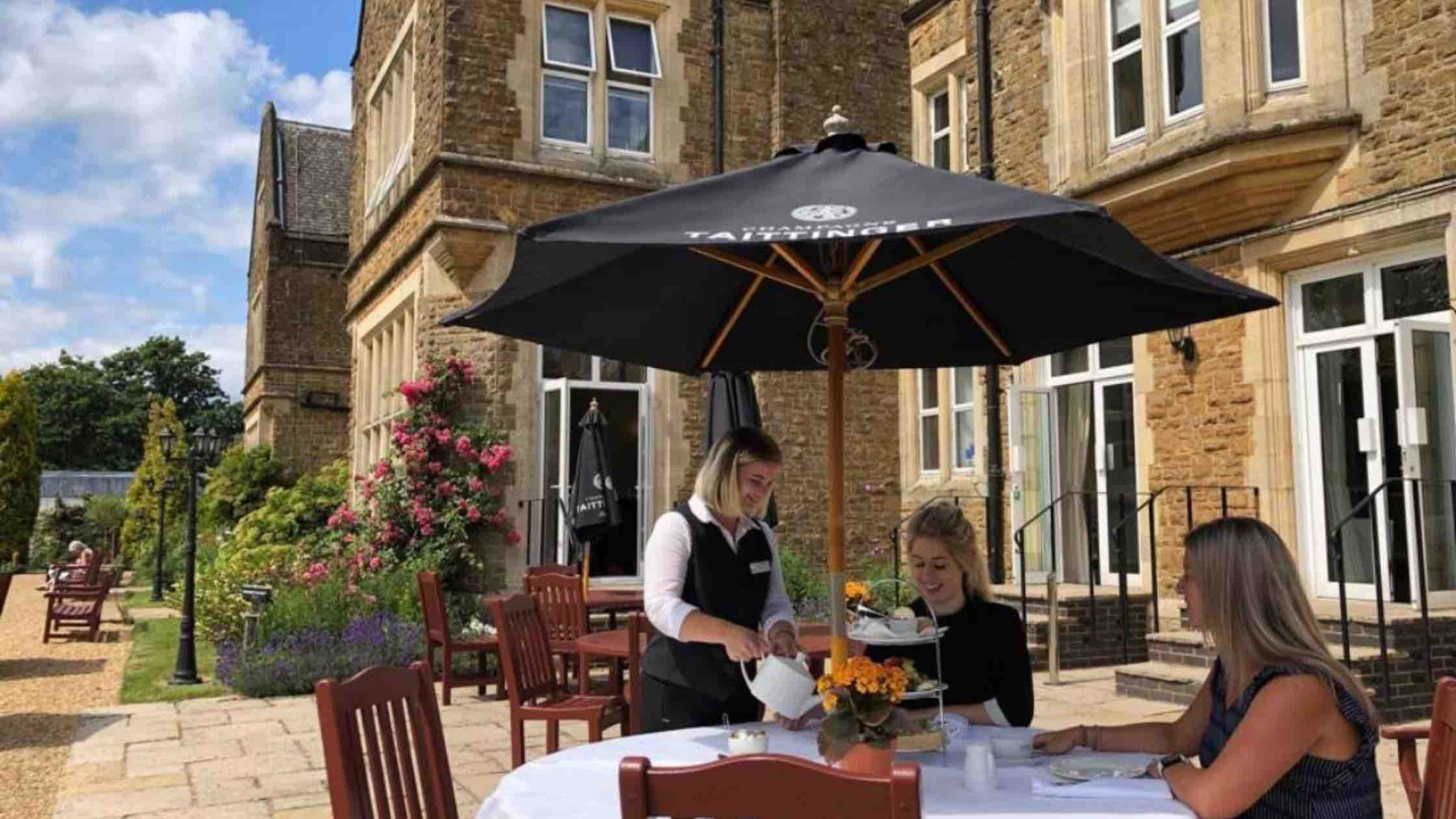 Afternoon tea outside at Hartsfield Manor